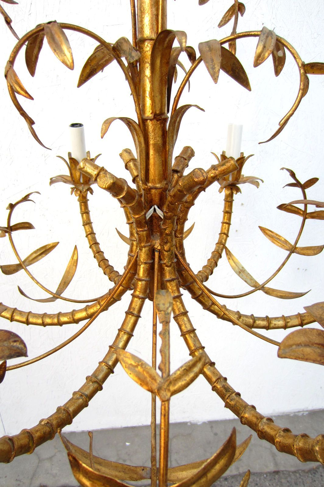 Hollywood regency gold gilded faux bamboo chandelier tole italy hollywood regency gold gilded faux bamboo chandelier tole italy 1950s 2 arubaitofo Gallery