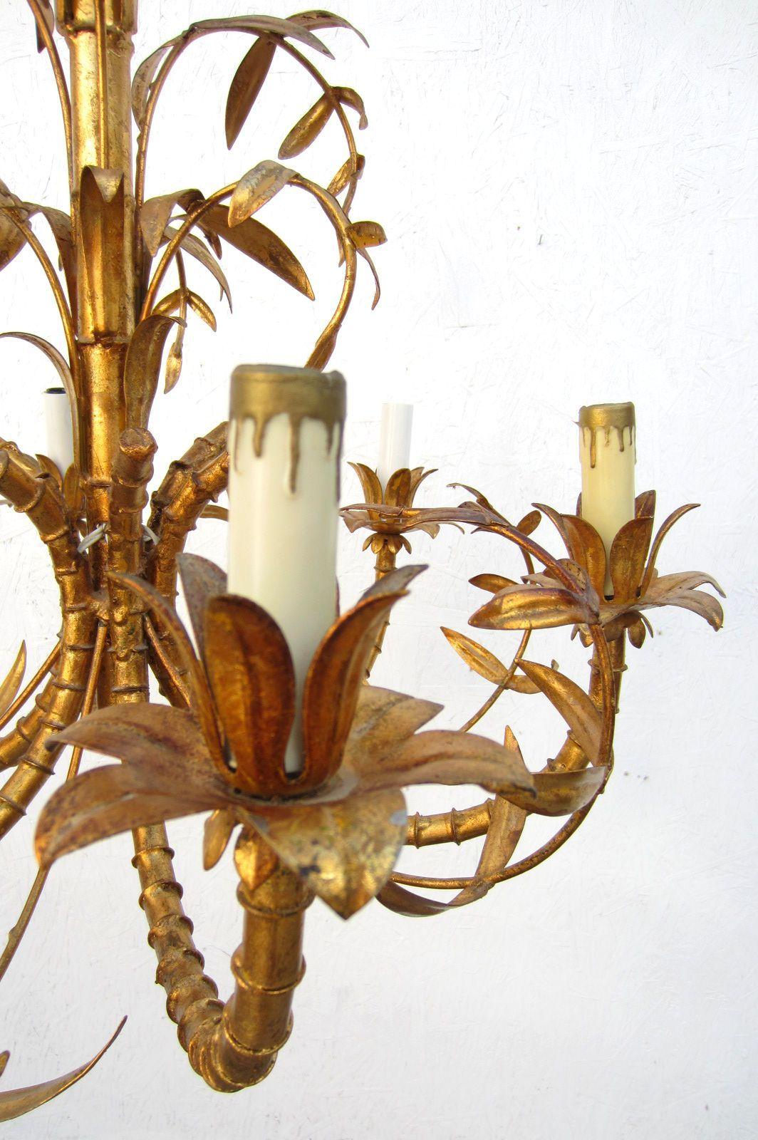 Hollywood regency gold gilded faux bamboo chandelier tole italy italian hollywood regency gold gilded faux bamboo chandelier tole italy 1950s for sale aloadofball Images