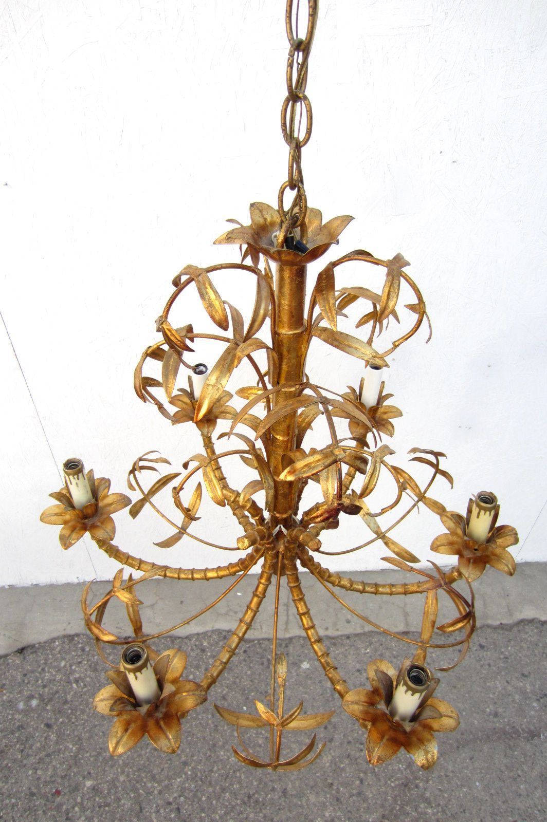 Hollywood regency gold gilded faux bamboo chandelier tole italy hollywood regency gold gilded faux bamboo chandelier tole italy 1950s 5 arubaitofo Gallery