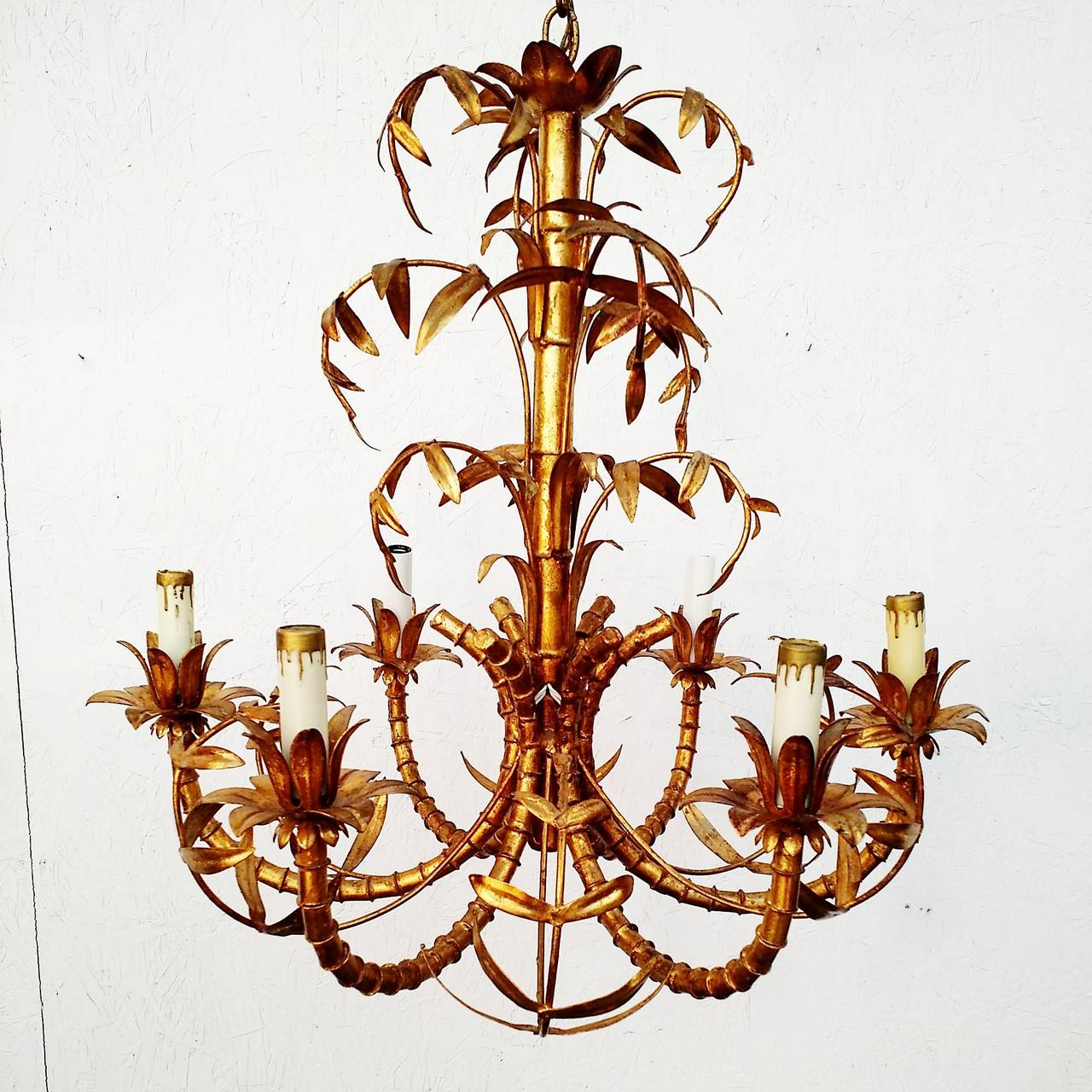 Hollywood regency gold gilded faux bamboo chandelier tole italy hollywood regency gold gilded faux bamboo chandelier tole italy 1950s 7 arubaitofo Gallery