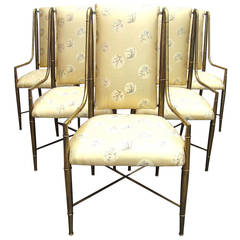 Mastercraft Furniture Brass Faux Bamboo Dining Chairs Set of Six, 1970s