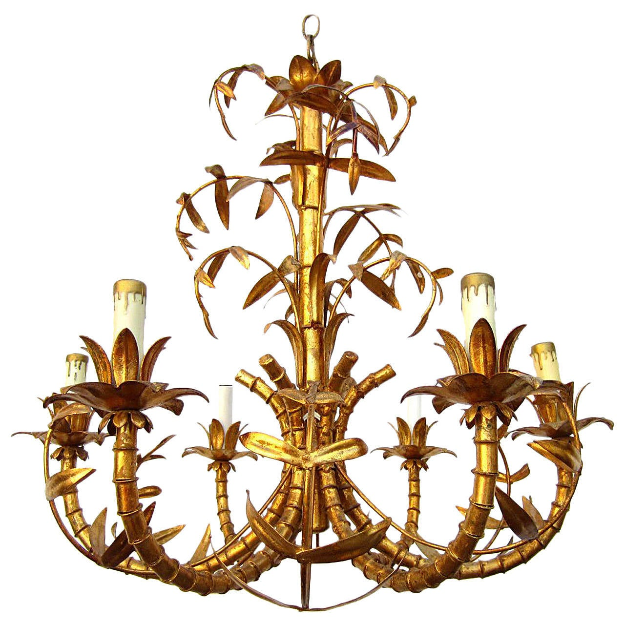Hollywood regency gold gilded faux bamboo chandelier tole italy hollywood regency gold gilded faux bamboo chandelier tole italy 1950s 1 arubaitofo Gallery