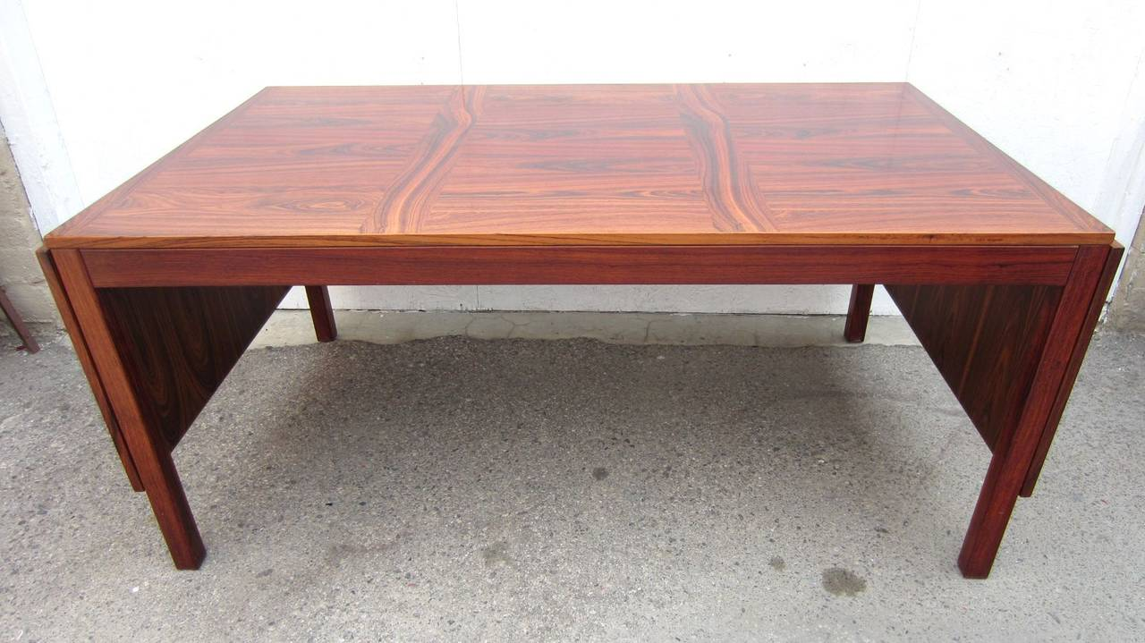 Mid century danish modern eight foot rosewood dining table for 5 foot dining room table