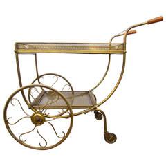 Swedish Mid-Century Modern Brass Tea Bar Trolley Cart by Firma Svensk Tenn