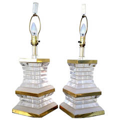 Pair of Stacked Lucite and Brass Lamps, circa 1970s Hollywood Regency