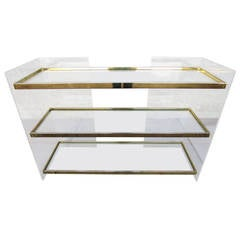 Lucite, Brass and Glass Standing Dry Bar by Charles Hollis Jones, 1970s