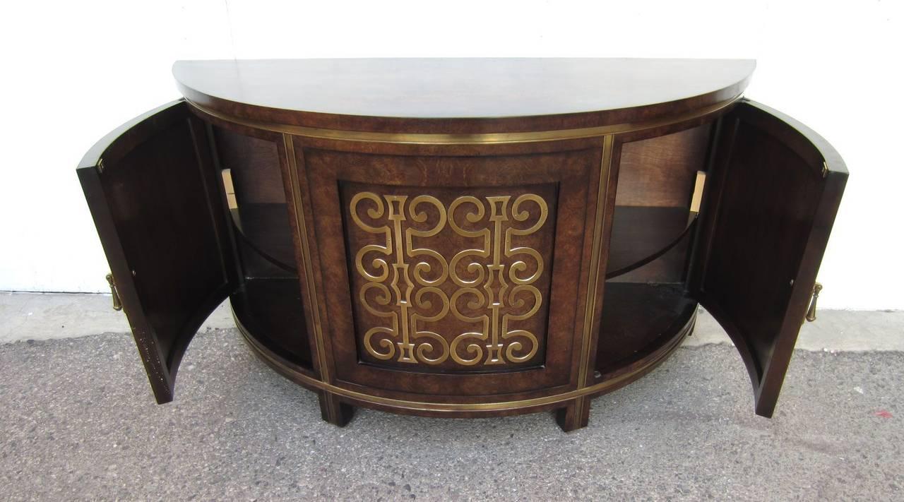 1970s Mastercraft Furniture Burlwood and Brass Demilune