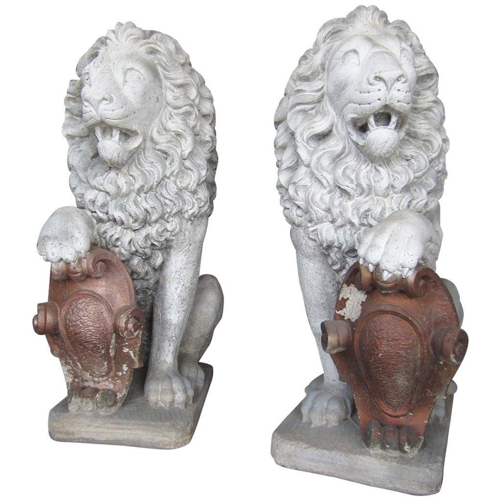 Old Garden Statue: Antique Architectural Regal Lion Sentinels Gate Guards For