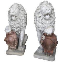 Antique Architectural Regal Lion Sentinels Gate Guards