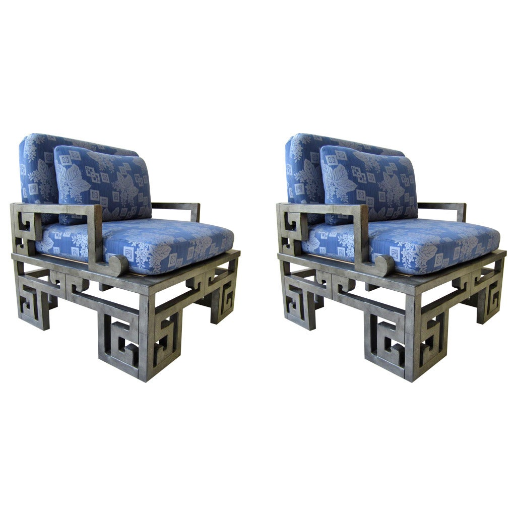 James Mont Style Asian Hollywood Regency Lounge Chairs by Henredon