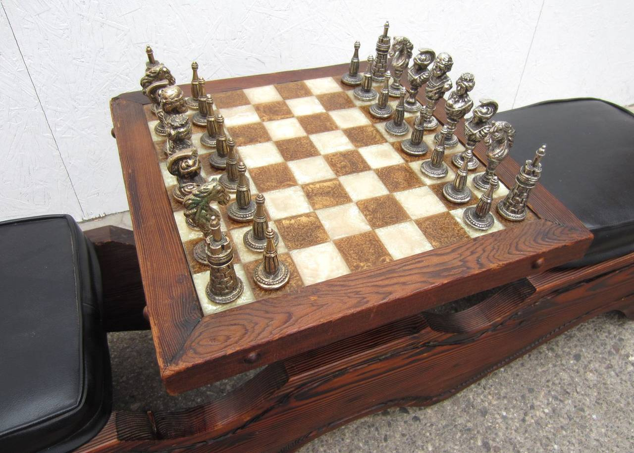 Modern Chess Table mid-century modern witco sculpted swamp cedar chess table with
