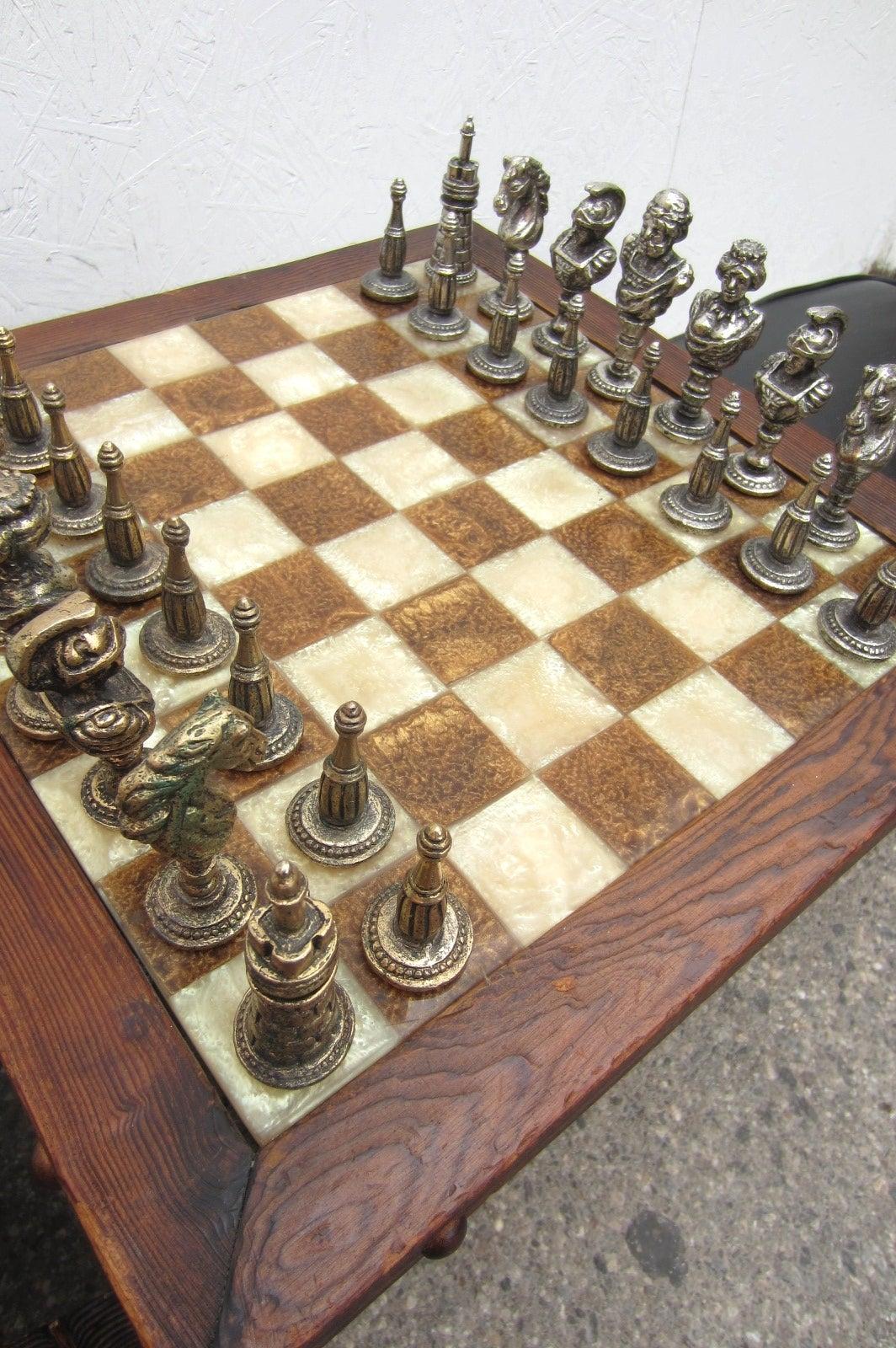 Mid Century Modern Witco Sculpted Swamp Cedar Chess Table
