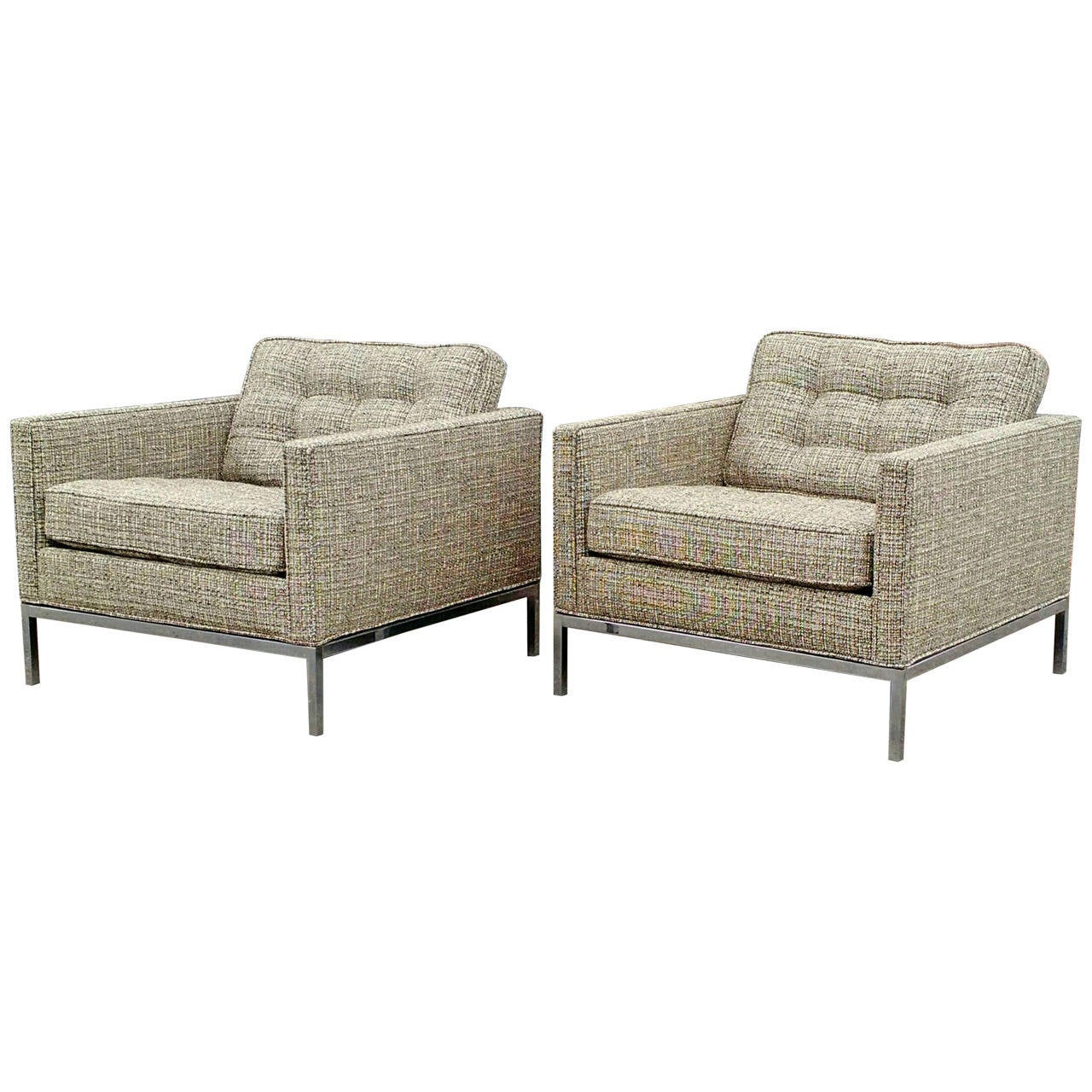 Pair of mid century modern florence knoll club chairs for sale