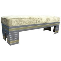 Mid-Century Brass and Chrome Patchwork Bench after Paul Evans Cityscape