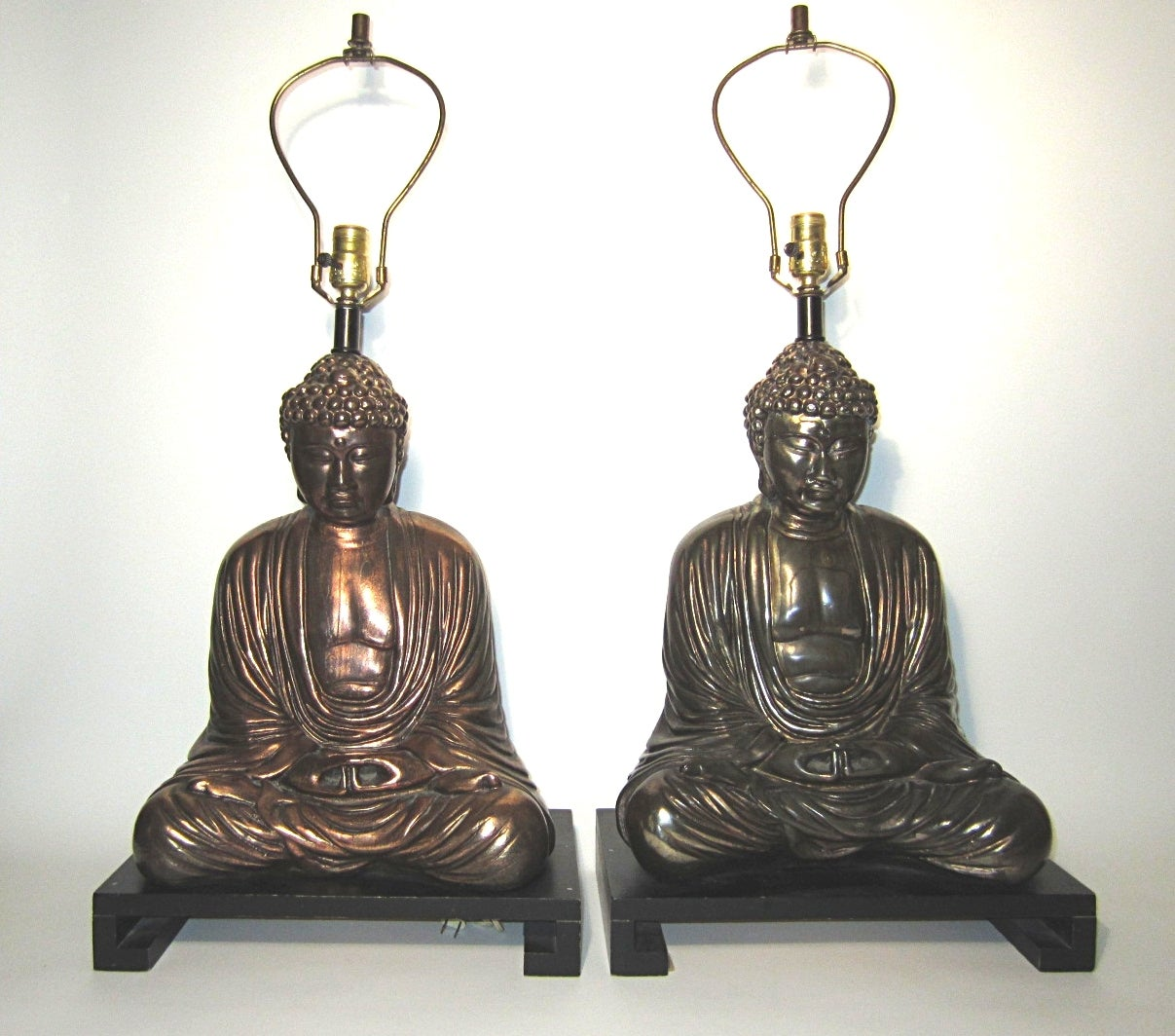 Large Mid Century Buddha Sculptue Table Lamps In Style Of