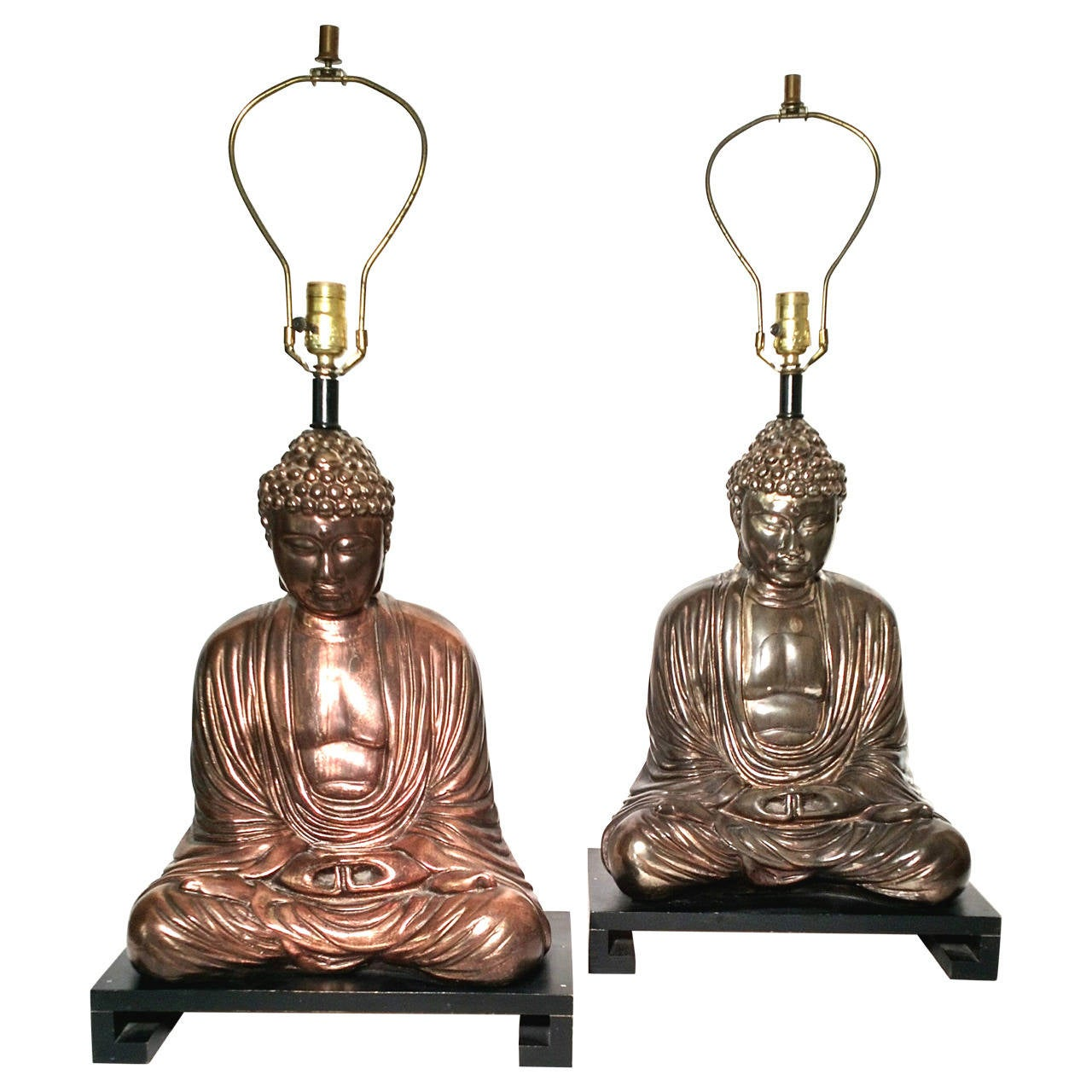 Lovely Large Mid Century Buddha Sculptue Table Lamps In Style Of James Mont 1