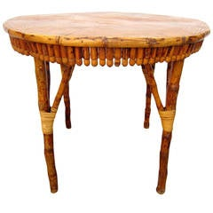 Antique Handcrafted French Artisan Bamboo Veneer Cafe Table, circa 1920
