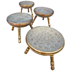 Set of Four, Exotic Middle Eastern Antique Brass TriPod Stools Hollywood Regency