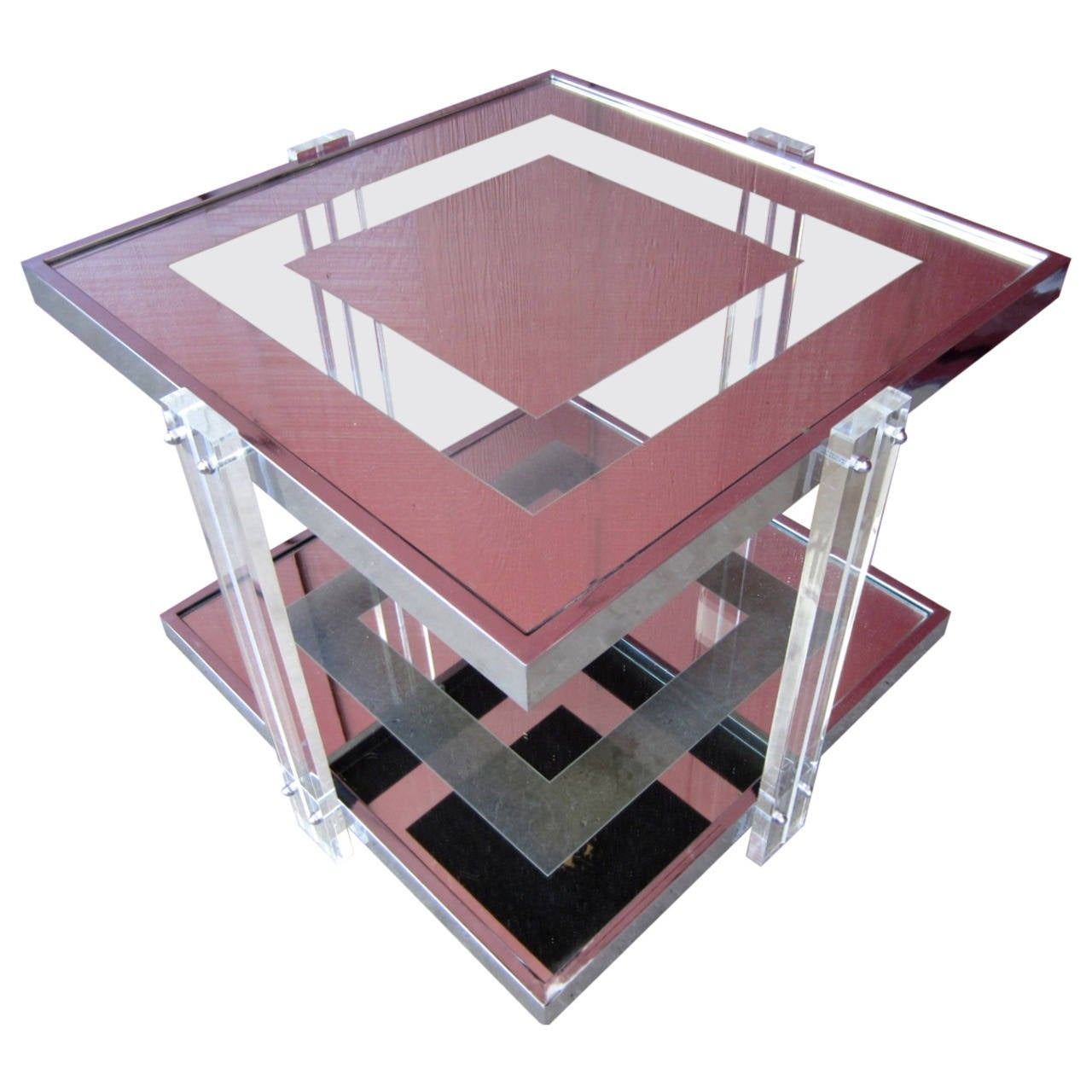 Mid-Century Lucite, Chrome And Glass Bar Table By Charles