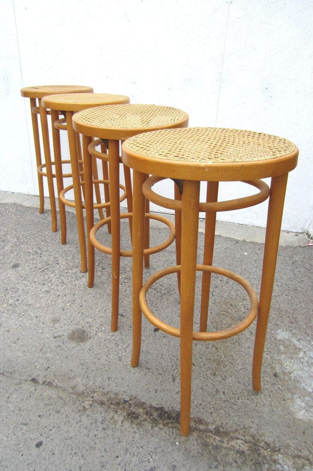 Set Of Four Vintage Michael Thonet Design Cane Bar Stools