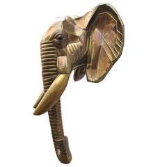 1970s Mexico Sergio Bustamante Lifesize Brass Elephant Wall Sculpture