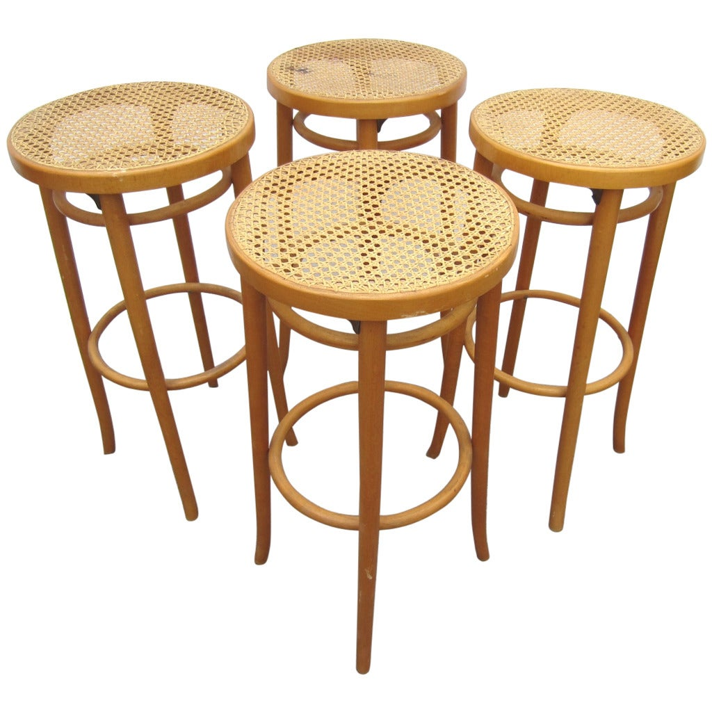 Set Of Four Vintage Michael Thonet Design Cane Bar Stools