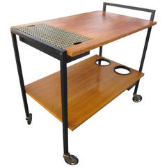 Mid-Century Modern Bar Serving Cart in the Style of George Nelson