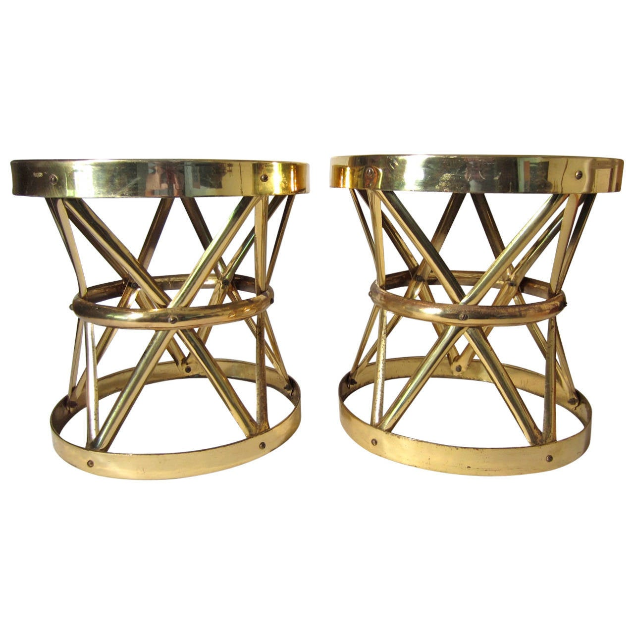 Large 1960s Hollywood Regency Woven Brass Tables Pair