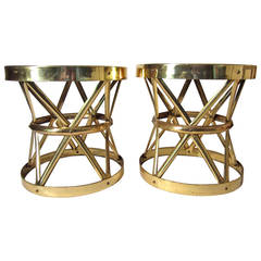 Pair of Large 1960s Hollywood Regency Woven Brass Tables