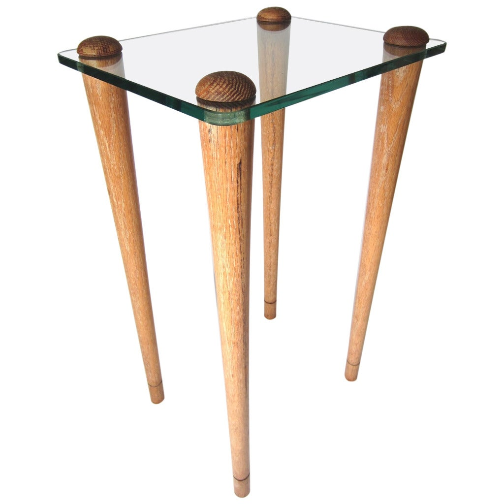 Art Deco Era Gilbert Rohde Oak and Glass Occasional Table, circa 1940