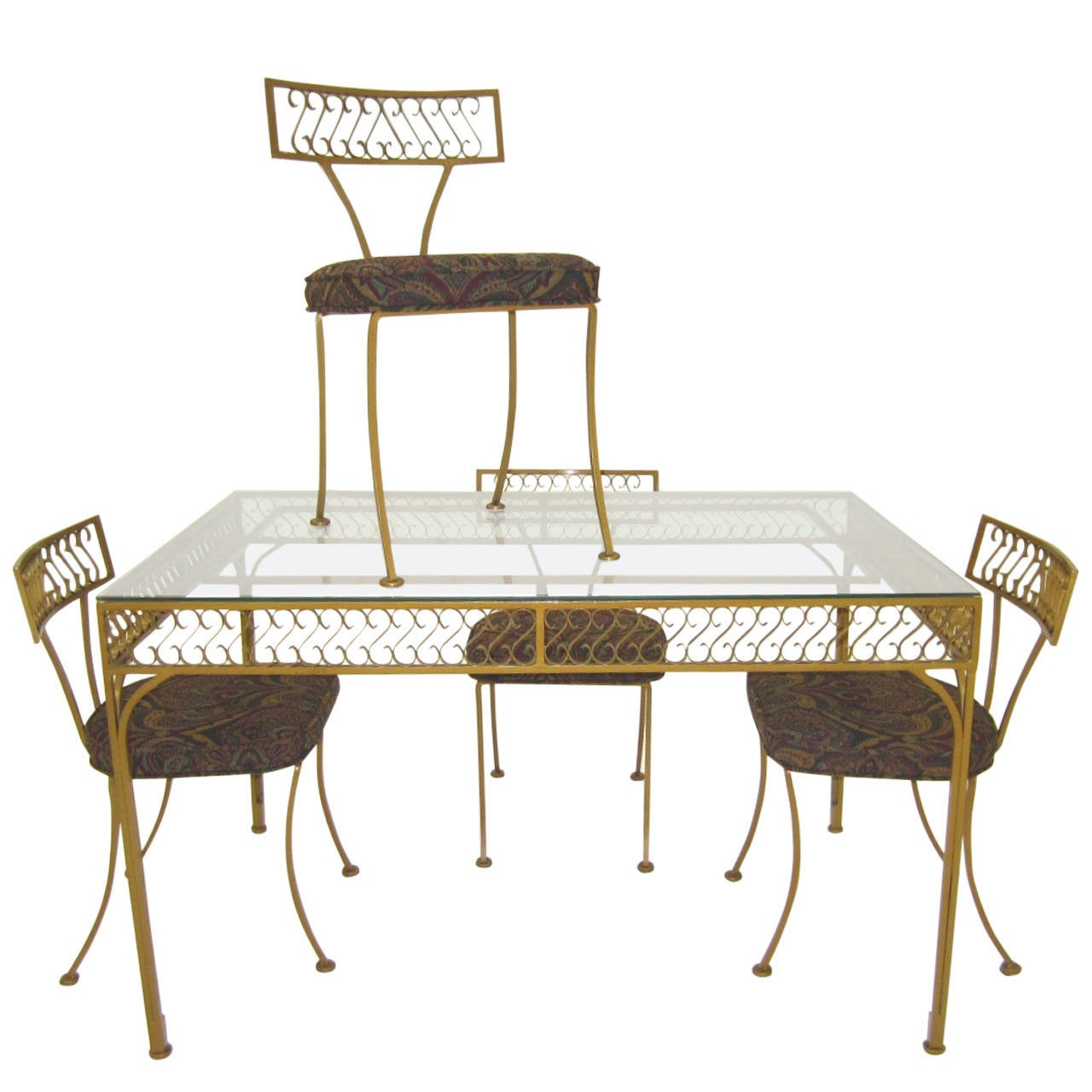 "1960s William ""Billy"" Haines Klismos Iron Table and Chairs by Thinline"