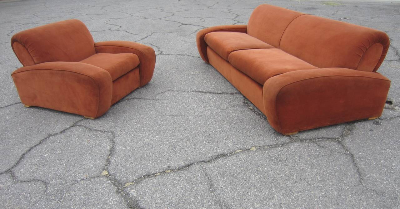 """Art Deco Paul Frankl """"Speed"""" Lounge Chair and Sofa Set, circa 1939 For Sale 2"""