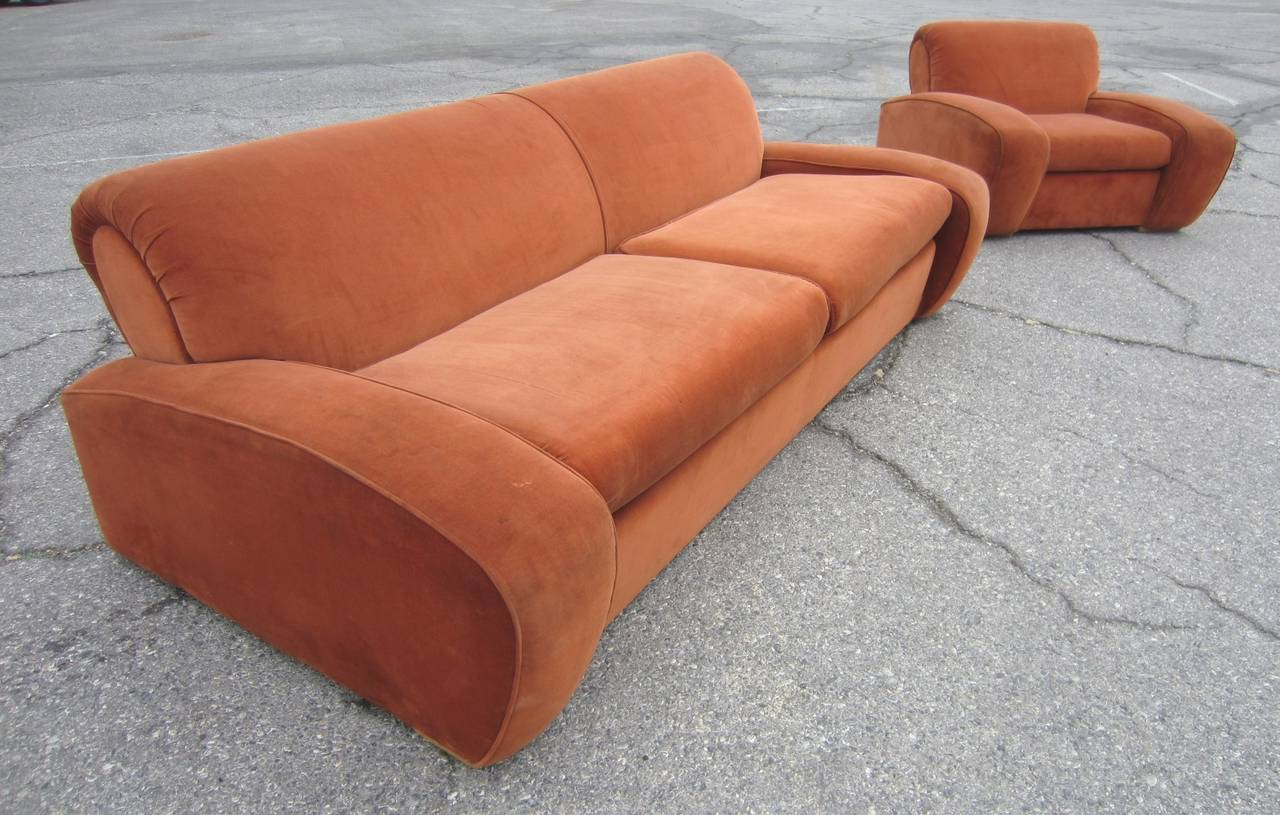 "Art Deco Paul Frankl ""Speed"" Lounge Chair and Sofa Set, circa 1939 3"