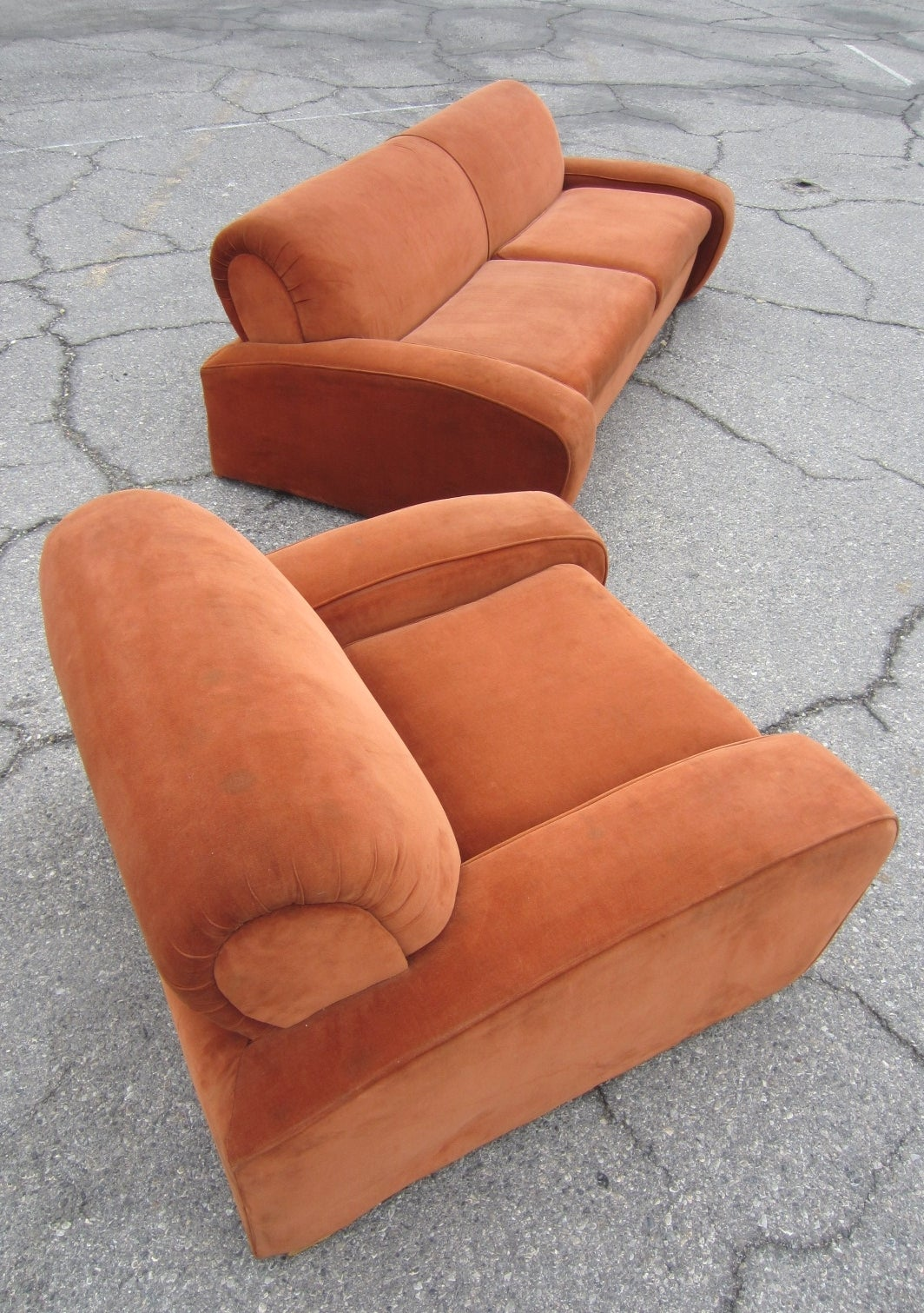 "Art Deco Paul Frankl ""Speed"" Lounge Chair and Sofa Set, circa 1939 2"
