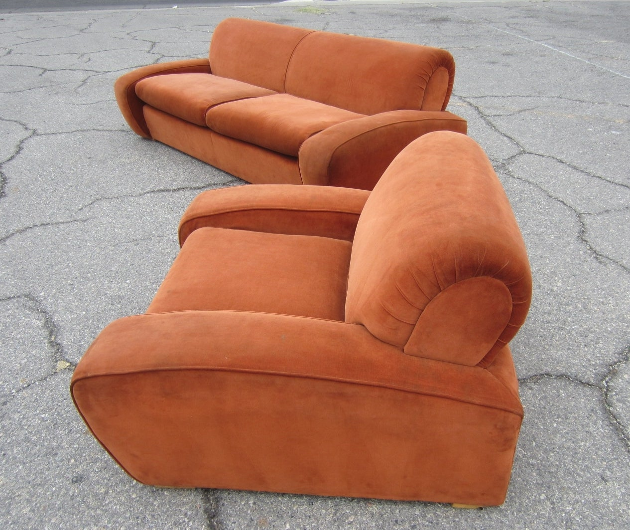 """Art Deco Paul Frankl """"Speed"""" Lounge Chair and Sofa Set, circa 1939 For Sale 1"""