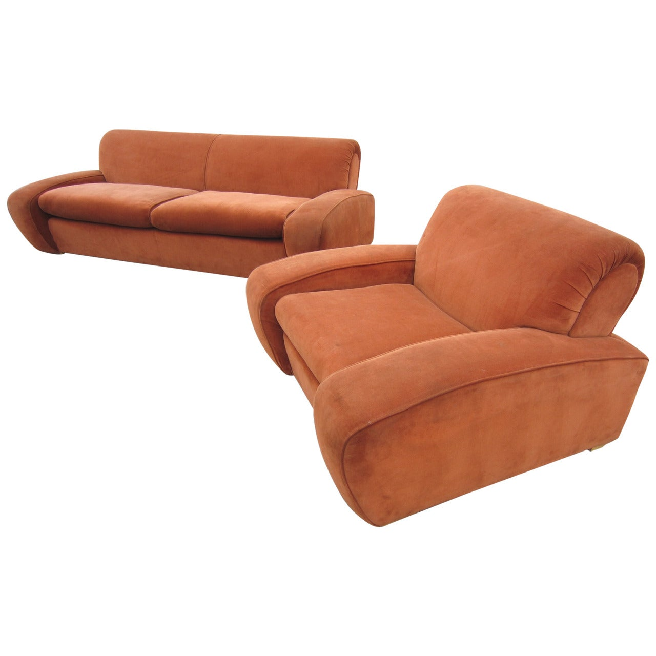 """Art Deco Paul Frankl """"Speed"""" Lounge Chair and Sofa Set, circa 1939"""