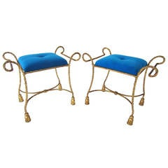 Pair of Hollywood Regency Gilded Gold Rope and Teal Velvet Stools, Italy, 1960s