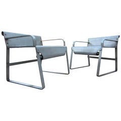 1930s Machine Age Industrial Aluminum Boat Armchairs