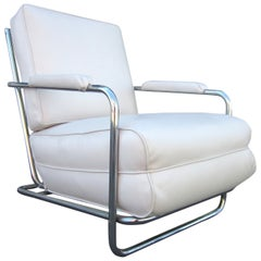 Art Deco Chrome Tube Lounge Chair by Gilbert Rohde for Troy Sunshade Company