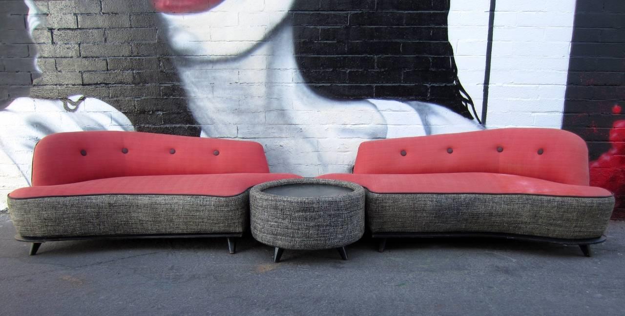 Fabulous Three Piece Sectional Sofa Circa 1950 Soft Pink And Black Ebonized Oak American Mid Century Modern Curved