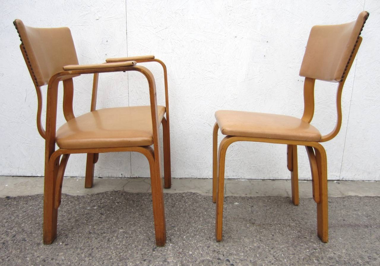 Mid 20th century michael thonet birch bentwood dining chairs captain armchair and five side