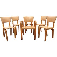 Michael Thonet Birch Bentwood Dining Chairs, Captain Armchair and Five Side