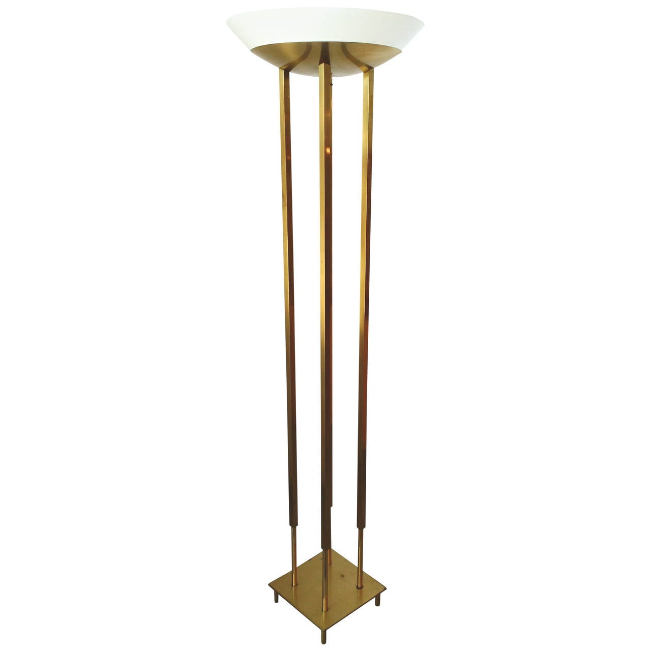 mid century modern brass floor torchiere lamp style of tommi - Torchiere