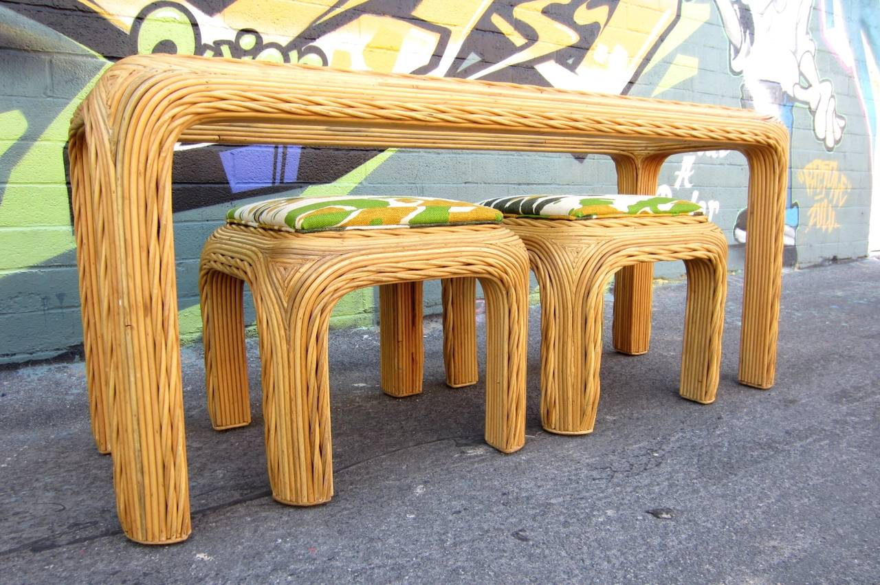 Artisan Sculpted Split Bamboo Reed Console Table With Two Matching Stools,  Circa 1970s. Glass