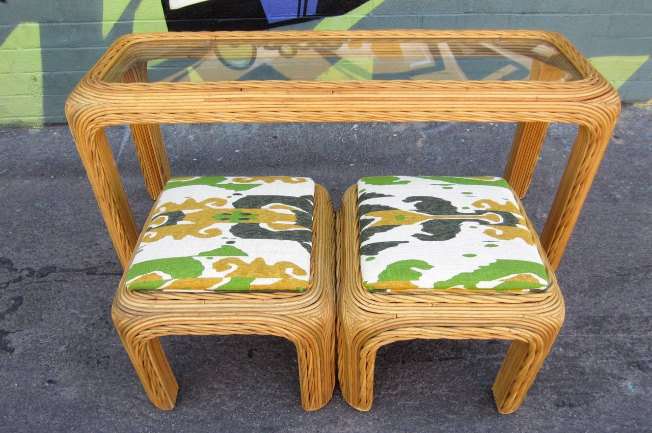 Console Table With Stools ~ Vintage split bamboo rattan console table and stools for