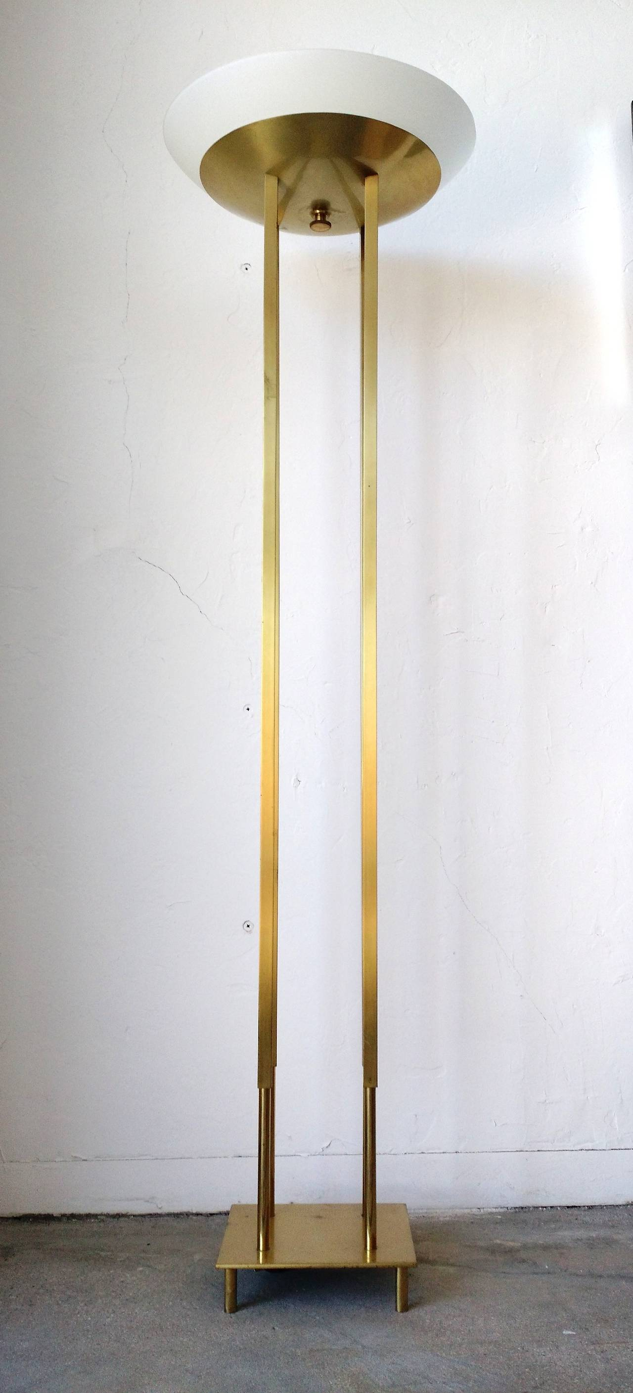 Mid century modern brass floor torchiere lamp style of for Modern contemporary floor lamp