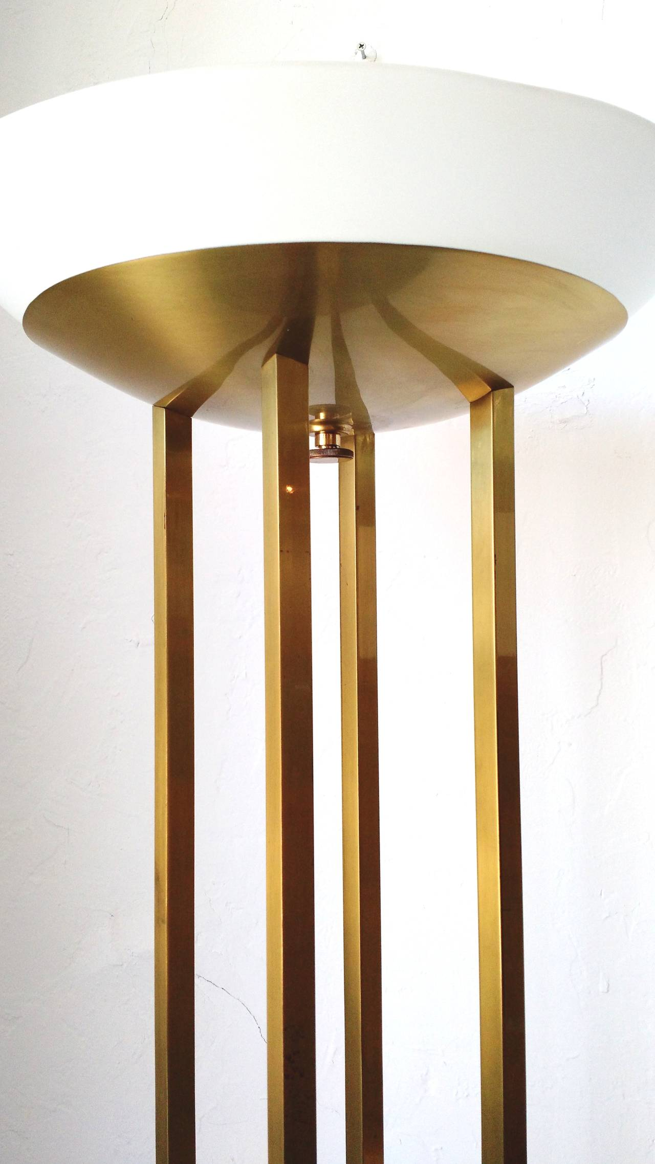. Brushed Steel And Glass 150watt 3way Torchiere Lamp ...