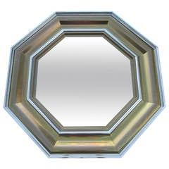 French Regency Style Brass and Stainless Steel Octagon Mirror by Michel Pigneres