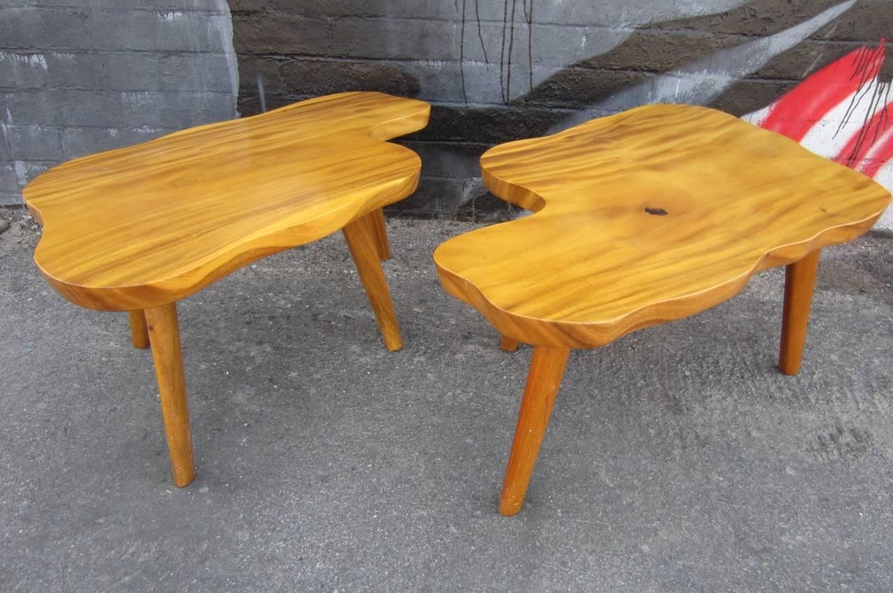 Unique 1960s Pair of Biomorphic Monkey Pod Hawaiian Side Tables 2. Unique 1960s Pair of Biomorphic Monkey Pod Hawaiian Side Tables