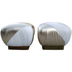 Hollywood Regency Pouf Ottomans in Gold and White Leather, Karl Springer Style